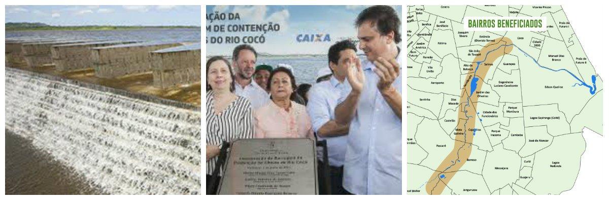 O governador Camilo Santana inaugurou, na manhã desta quarta-feira (7), em Fortaleza, a Barragem do Rio Cocó. A obra, que está com sua capacidade máxima de armazenamento, de quase 6 milhões e meio de m³, vai conter o excedente de água no período mais intenso da quadra chuvosa na Capital, para evitar alagamento em bairros vulneráveis ao longo do rio.A contenção no volume das águas vai eliminar 14 áreas de risco em Fortaleza.Ao todo, cerca de 10.970 mil famílias serão beneficiadas com a construção.