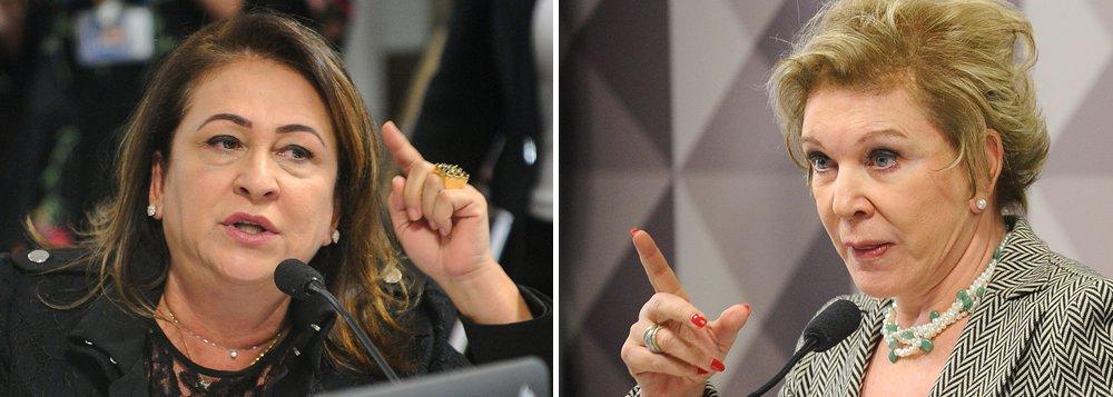 """Comissão de Assuntos Sociais (CAS) do Senado se prepara para votar, no início da tarde de hoje (20), o relatório de Ricardo Ferraço (PSDB-ES) sobre o projeto de """"reforma"""" da legislação trabalhista; presidenta da colegiado, Marta Suplicy (PMDB-SP), discutiu com a senadora Kátia Abreu (PMDB-TO), que sugeriu a saída de Marta; """"Se a senhora está incomodada, retire-se da comissão e deixe outro em seu lugar. Trate as pessoas com respeito"""", disse Kátia; """"Estou tratando"""", respondeu a senadora paulista"""
