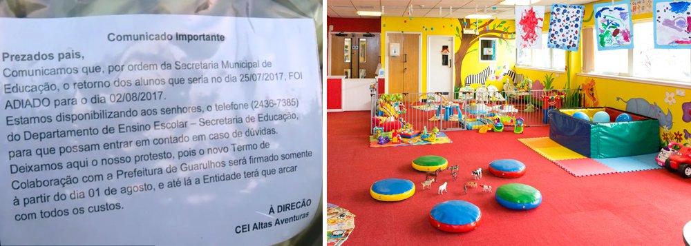 Falha documental entre Prefeitura e creches conveniadas deixa 10 mil alunos de 33 creches sem aula em Guarulhos; enquanto a prefeitura alega que as creches deixaram de entregar dados necessários para a regularização, donos de creche alegam que a falha é da administração pública.