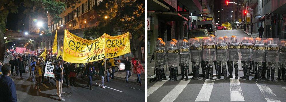 """As forças políticas que estão organizando a greve geral do próximo dia 30 de junho em defesa do """"Fora, Temer!"""" e contra as propostas da Reforma da Previdência e Reforma Trabalhista promoveram, em Porto Alegre, dois atos de """"esquenta"""" para a mobilização, no mesmo horário e separados por poucos metros; na Esquina Democrática, concentraram-se militantes do PSOL, PSTU, Fórum em Defesa da Previdência, CSP Conlutas, do Movimento de Luta nos Bairros, Vilas e Favelas (MLB), da Unidade Popular pelo Socialismo (UP), entre outras entidades; a poucos metros, no Largo Glênio Peres, ocorria no mesmo instante outro """"esquenta"""" para a greve geral com a presença de representantes da CUT, da CTB, da Intersindical, da Nova Central Sindical, entre outras organizações"""