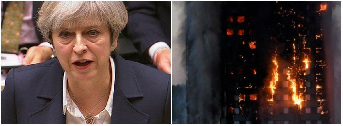 """A primeira-ministra do Reino Unido, Theresa May, anunciou que haverá uma investigação oficial para apurar as causas do incêndio em um prédio residencial de Londres; May visitou a área do incêndio, o bairro de North Kensington (oeste da capital), e, segundo ela, """"é necessário assegurar que essa terrível tragédia seja investigada adequadamente"""" para poder chegar """"ao fundo do que aconteceu""""; de acordo coma polícia da capital britânica, 17 pessoas morreram na tragédia"""