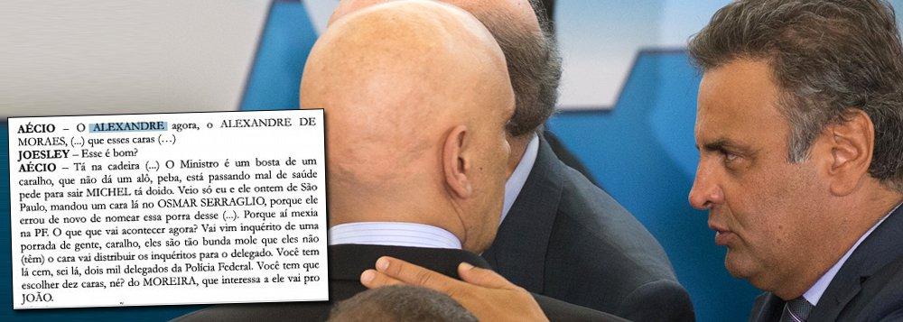 Conflito de interesses no STF; áudio que incrimina Aécio Neves por lavagem de dinheiro cita o ministro do STF Alexandre de Moraes, um dos membros da Primeira Turma da Suprema Corte, que vai analisar o caso;num país republicano, o ministro deveria se declarar impedido de julgar a questão