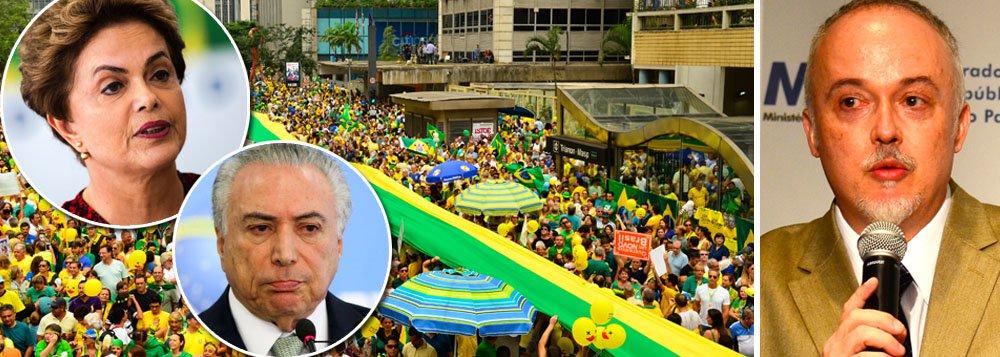 """O procurador Carlos Fernando Lima, um dos integrantes da força-tarefa da Lava Jato, constatou que a motivação de muitas pessoas que apoiavam a operação era apenas derrubar a presidente Dilma Rousseff, e não o fim da corrupção; """"Infelizmente muitas pessoas que apoiavam a investigação só queriam o fim do governo Dilma e não o fim da corrupção. Agora que Temer conseguiu com liberação de verbas, cargos e perdão de dívidas ganhar apoio do Congresso, o seu partido deseja acabar com as suas investigações. Mas, mesmo com todas as articulações do governo e de seus aliados, as investigações vão continuar por todo país"""", escreveu; curiosamente, o Brasil trocou uma presidente reconhecidamente honesta pelo primeiro ocupante da presidência acusado de corrupção em toda a história do Brasil"""