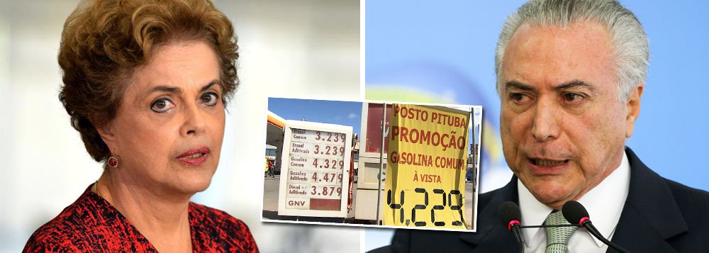 """Em nota, a presidente legítima Dilma Rousseff diz que """"nem a elevação forjada da previsão de déficit [do governo Temer] evitou um vexame. A meta superestimada vai estourar e, em desespero, o governo está aumentando impostos""""; """"A imprensa noticia que a gasolina já está sendo vendida a mais de R$ 4 o litro. É o maior aumento de preço em 13 anos"""", destaca; """"O meu governo sempre foi parcimonioso na concessão de reajustes nos combustíveis porque sabemos que o impacto na inflação é inevitável e acaba por pesar mais no bolso dos transportadores de cargas e alimentos, dos trabalhadores e dos mais pobres – estes últimos castigados pela transferência dos aumentos para o custo da comida"""", lembra; """"Governo legítimo, eleito pelo voto, tem mais compromisso com a sociedade"""", conclui"""