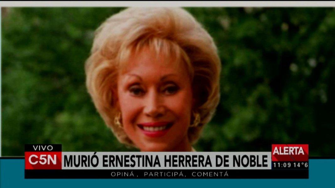Diretora do jornal Clarín, forte opositora do governo de Cristina Kirchner, morreu aos 94 anos em Buenos Aires; Ernestina de Noble ganhou notoriedade por ser a primeira mulher a dirigir um grande grupo de mídia latinoamericano e por suposto rapto de filhos de desaparecidos políticos durante a ditadura argentina nos anos 1970 e 1980