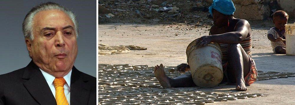 """O economista e pesquisador na Área de Pobreza e Segurança Alimentar da organização ActionAid no Brasil, Francisco Menezes, disse nesta quinta-feira que o Brasil corre o risco de reaparecer no mapa da fome mundial, em razão de uma série de retrocessos em andamento no país hoje governado Michel Temer; """"Estamos ameaçados de sermos reincluídos no mapa da fome"""", disse Menezes, um dos convidados a participar de um seminário promovido pela Comissão de Meio Ambiente e Desenvolvimento Sustentável, que integra a Semana do Meio Ambiente na Câmara dos Deputados, em Brasília; ou seja: depois de sair do mapa da fome com Dilma Rousseff, a presidente legítima, o Brasil pode voltar a essa vergonhosa posição com aquele que usurpou seu cargo"""