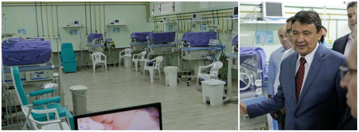 O governador Wellington Dias inaugurou 10 leitos de Unidade de Terapia Intensiva Neonatal (UTI neonatal) na Maternidade Dona Evangelina Rosa; com a ampliação, a maternidade passa a ter 30 leitos de UTI neonatal, além de 34 leitos de cuidados intermediários para atender os bebês prematuros que necessitam de cuidados especiais; foram investidos R$ 638 mil na implantação dos 10 leitos de UTI neonatal; para a melhoria do atendimento materno-infantil, o executivo investirá ainda na construção da Maternidade de Referência do Piauí, em Teresina; a obra está orçada em mais de R$ 83 milhões e aguarda a assinatura da ordem de serviço