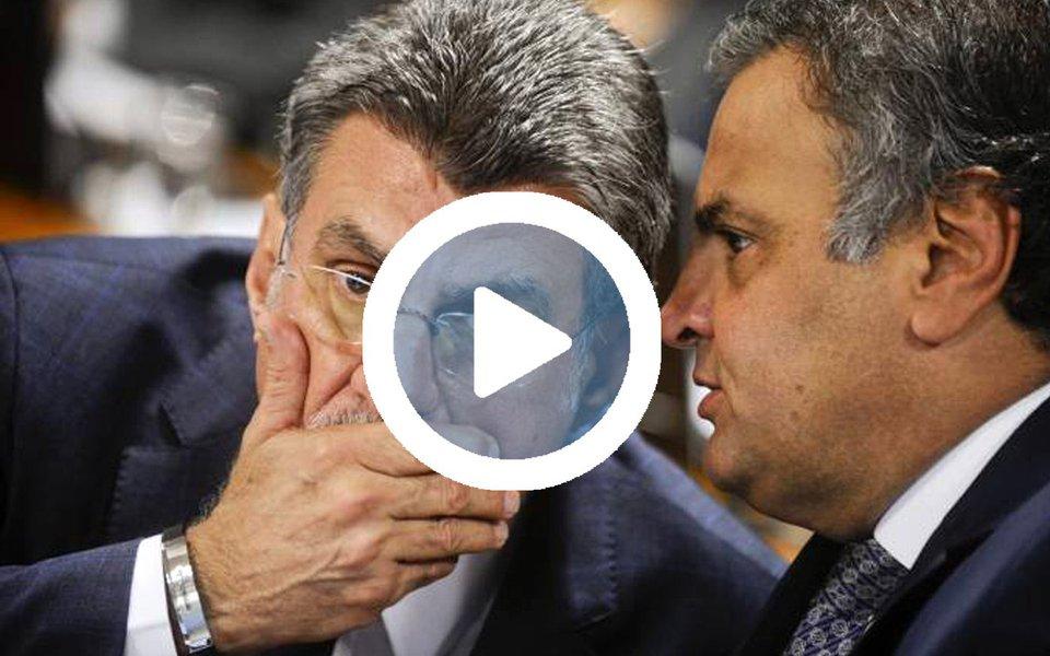 """O senador afastado Aécio Neves (PSDB-MG), líder do golpe que arruinou o Brasil, discutiu com o senador Romero Jucá (PMDB-RR), que também defendeu o golpe contra a presidente Dilma Rousseff como forma de """"estancar a sangria"""", um modo de frear a Lava Jato; """"É agora ou nunca"""", disse Aécio a Jucá;""""Passou do limite, porra. Já devia ter sido"""", respondeu Jucá; ou seja: a cada dia que passa, fica mais claro que o golpe foi uma conspiração de políticos corruptos que tentavam se safar"""