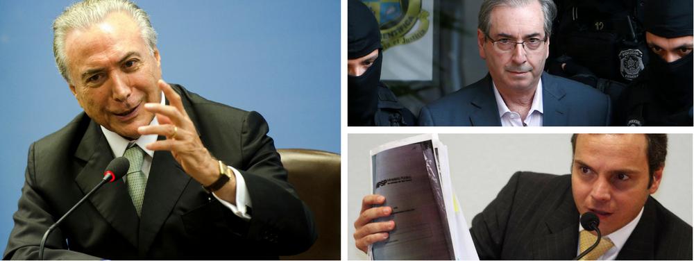 O ex-deputado Eduardo Cunha e o empresário Lúcio Funaro, apontado como operador do PMDB, estão em uma corrida para ver quem apresenta mais provas contra Michel Temer; a PGR (Procuradoria-Geral da República) já avisou que só fechará acordo com um deles: ou seja, ganha quem tiver mais munição contra o Planalto; advogados de Cunha fazem nesta semana uma nova reunião com os procuradores; os investigadores têm jogado duro com Cunha; na última reunião, disseram que o material era insuficiente e nem sequer ficaram com os anexos; preso, ele reorganizou o arsenal, que tem foco em Michel Temer e seus principais aliados no Planalto, para dar novo tiro; procuradores, porém, alertam que Funaro já conseguiu juntar mais elementos contra o peemedebista