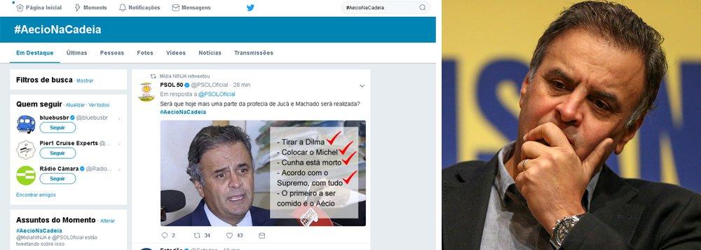 No dia que o Supremo julga pedido de prisão do senador afastado Aécio Neves (PSDB-MG), a hashtag #AecioNaCadeia lidera o trending topics (assunto mais comentado) do Twitter; o pedido de prisão do parlamentar mineiro será analisado pela Primeira Turma do STF nesta terça-feira (19); Constituição prevê prisão de congressistas somente em flagrante delito, no que, segundo o procurador Rodrigo Janot, se enquadra o caso do tucano, que é acuado de tentar obstruir a Justiça; mesmo que o STF determine a prisão de Aécio, o Senado deverá ainda precisará aprová-la pela maioria absoluta (41 dos 81 senadores)