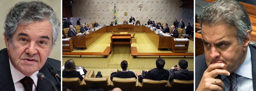 """Novo relator do inquérito contra o senador afastado Aécio Neves (PSDB-MG), o ministro Marco Aurélio jogou para o Plenário do Supremo Tribunal Federal a decisão sobre a prisão do senador tucano; """"Eu jamais reconsideraria uma deliberação de um colega. E não reconsiderando, não atuando nesse campo individualmente, eu traria ao colegiado. Deve ir ao plenário em termos de agravo"""", afirmou Marco Aurélio Mello, referindo-se aos recursos interpostos pela Procuradoria-Geral da República (PGR) e pela defesa de Aécio, um a favor e outro contra a prisão do parlamentar; Aécio é investigado pelo suposto recebimento de R$ 2 milhões em propina da JBS"""