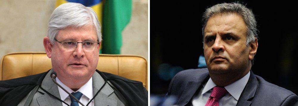 O senador afastado Aécio Neves (PSDB-MG), responsável pelo golpe que arruinou a economia e a imagem do Brasil, acaba de ser denunciado pelo procurador-geral da República, Rodrigo Janot, por corrupção e obstrução judicial; de acordo com as delações da JBS, Aécio recebeu propinas de R$ 2 milhões, em troca de benefícios no governo de Michel Temer; denúncia fortalece pedido de prisão que poderá ser julgado já na próxima semana; airmã de Aécio, Andrea Neves, o primo Frederico Pacheco e o advogado Mendherson Souza Lima também foram denunciados, mas apenas por corrupção passiva; em novo pedido de autorização, feito no início da noite, Janot solicitou a abertura de investigação contra Aécio por lavagem de dinheiro