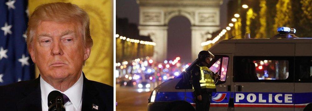 """presidente dos Estados Unidos, Donald Trump, afirmou hoje (20) que o tiroteio ocorrido nesta quinta-feira na Avenida Champs-Élysées, em Paris, que deixou pelo menos dois mortos, """"parece outro ataque terrorista"""". Trump enviou condolências """"ao povo da França""""; """"É muito, muito terrível. Parece outro ataque terrorista. O que posso dizer? Isto nunca acaba. Temos de nos manter fortes e atentos"""", disse Trump em entrevista coletiva"""