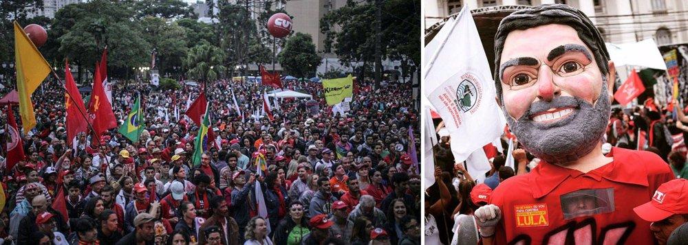 """Dezenas de milhares de manifestantes aguardam Lula no centro de Curitiba aos gritos de """"Fora Temer"""" e de """"Lula presidente""""; depoimento do ex-presidente ao juiz Sergio Moro terminou cerca de 19h10, após cinco horas; senador Lindbergh Farias (PT-RJ) falou em seu discurso em golpe de classes com apoio dos Estados Unidos para tomar o pré-sal e fez duras críticas à TV Globo; Guilherme Boulos, líder do MTST e da Frente Povo Sem Medo, disse que os movimentos defendem as investigações, mas não """"linchamento""""; """"Juiz tem que julgar, não pode tomar lado, como esse Sergio Moro está fazendo aos olhos de todo o país"""", disse; segundo ele, Curitiba foi hoje um exemplo de """"resistência democrática"""""""