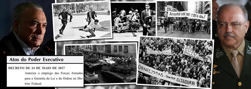 Ao convocar o exército por uma semana para garantir a lei e a ordem, Michel Temer, flagrado em atos de corrupção e com pedido de impeachment apresentado pela OAB, acionou o artigo 142 da Constituição Federal; éum dos artigos cujo conteúdo os militares pressionaram para manter da Constituição 1988; de acordo com o texto, os militares se julgam constitucionalmente autorizados a intervir nos poderes constituídos do País e na sociedade como um todo; ou seja: Temer abriu as portas para uma nova ditadura no Brasil, assim como a de 1964, que durou 21 anos; o decreto foi assinado por ele e pelo general Sergio Etchegoyen