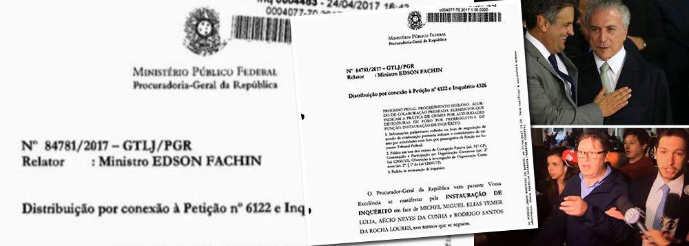 Inquérito aberto pelo Supremo Tribunal Federal para investigar Michel Temer, o ex-senador Aécio Neves (PSDB) e o deputado federal Rodrigo Rocha Loures (PMDB-PR), tendo como base as delações premiadas dos empresários Joesley e Wesley batista, do grupo JBS, tramitará sem estar protegido sob o segredo de Justiça; expectativa, agora, gira em torno do conteúdo da delação que deve ser tornado público a qualquer momento; ministro do STF Edson Fachin já havia levantado o sigilo da delação, apesar dos depoimentos de Joesley e Wesley ainda não terem se tornado públicos.