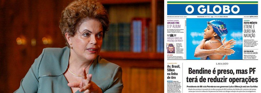 """Presidente eleita Dilma Rousseff criticou o jornal O Globo, da Família Marinho, que na edição desta sexta-feira, 28, faz insinuações de que o ex-presidente da Petrobras Aldemir Bendine, preso na 42º fase da Lava Jato, teria ligação pessoal com a presidente; """"Não é verdade que a presidenta eleita Dilma Rousseff tenha nomeado Aldemir Bendine para a Petrobrás com o propósito de bloquear acordos de leniência de empresas envolvidas na Lava Jato"""", diz Dilma em nota de sua assessoria de imprensa; ela lembrou que seu governo criou as medidas para os acordos de leniência e nunca criou obstáculos às investigações; """"O jornal continua fomentando ilações sem fundamento. Não podemos esquecer que deu lastro aos golpistas que, hoje, afrontam o país"""""""