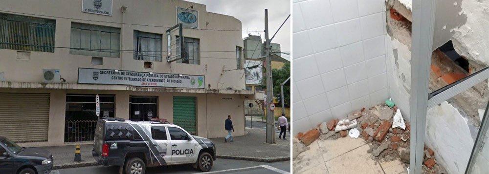 Dezoito presos fugiram, na madrugada desta segunda-feira (22), do 1º Distrito Policial, no Centro de Curitiba; segundo a Polícia Civil, o local tem capacidade para quatro detentos, mas estava com com 33