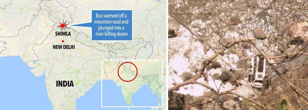Pelo menos 41 pessoas morreram na queda de um ônibus em um penhasco, no estado de Himachal Pradesh, no norte da Índia; acidente, que deixou dezenas de feridos, aconteceu quando o veículo saiu da estrada e caiu em um penhasco localizado entre os distritos de Sirmaur e Shimla