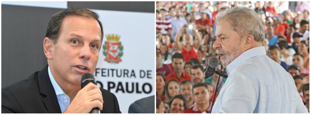 """Prefeito João Doria, que tenta se viabilizar como o nome do PSDB para enfrentar o ex-presidente Lula nas eleições de 2018, atribuiu ao adversário a recessão atual e os 13 milhões de desempregados, que foram produto do golpe -- e não da era Lula; """"O ex-presidente Lula quase destruiu o Brasil. Então, é inadmissível um homem que quase destruiu a nação, que impôs o maior assalto ao dinheiro público jamais visto na história da humanidade, que ofereceu três anos de recessão, 13 milhões de desempregados, queira agora voltar a ser candidato e disputar sob a alegação de que é o salvador do Brasil. Salvar o quê?"""", questionou o tucano, em entrevista neste domingo 23"""