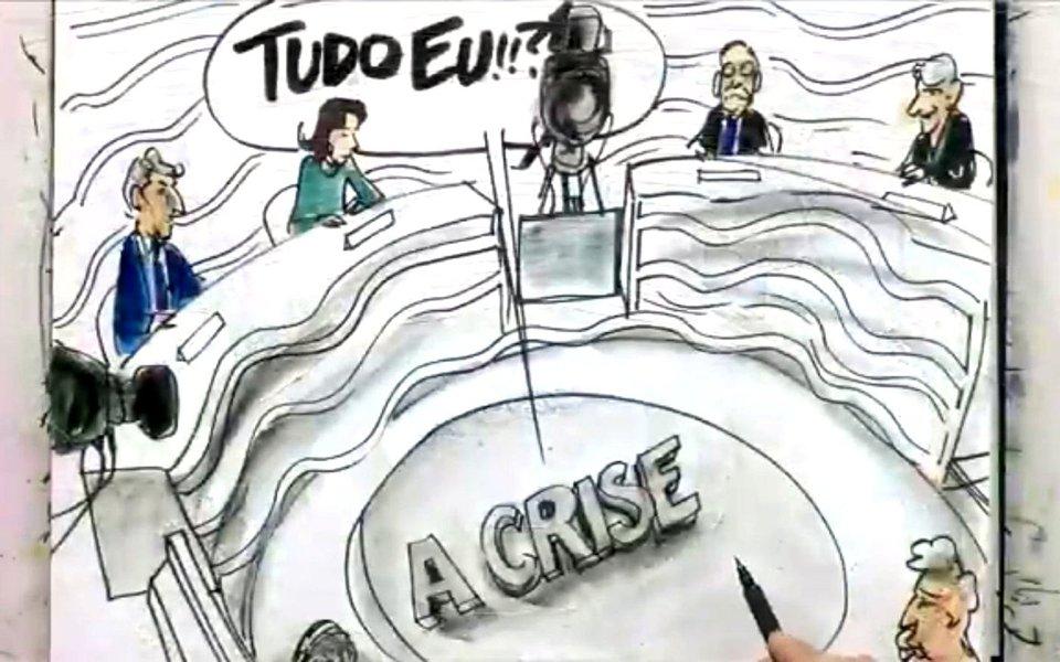 """O programa para debater """"a crise"""" e, de fato, não houve uma única discussão realmente pontual e séria sobre o que, de fato, é essa crise para além da baixaria novelística e que já cansou o mais santo dos brasileiros, não tratou de absolutamente nada e que respeita aos problemas diretos dos brasileiros"""