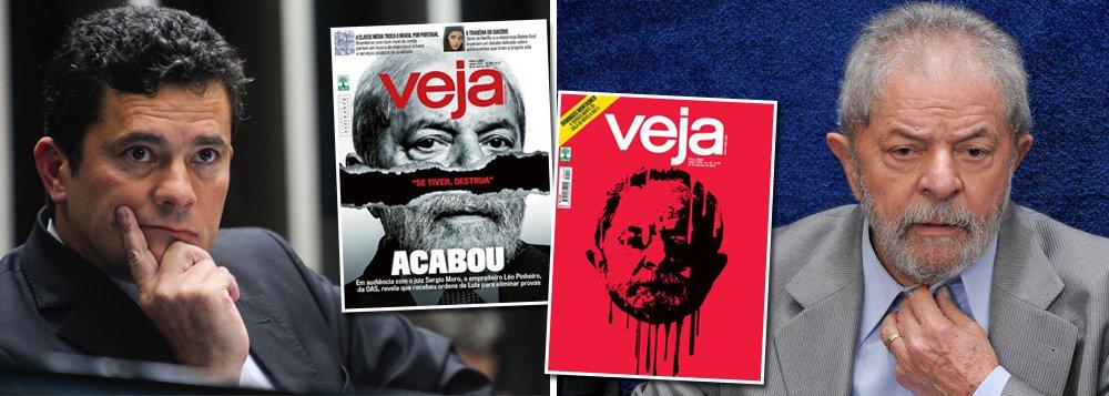 """Embora já tenha dedicado dezenas de capas para decretar a morte do ex-presidente Luiz Inácio Lula da Silva, tendo chegado até a, numa delas, arrancar-lhe a cabeça, Veja ainda não desistiu; neste fim de semana, Lula volta a ser capa da revista que, ao estilo de Galvão Bueno, decreta: """"Acabou""""; o pretexto desta vez é a delação de Léo Pinheiro, da OAS, que o acusa de ser dono do """"triplex do Guarujá"""" e de mandá-lo destruir provas; Veja, no entanto, afirma que Lula não será preso, mas, apenas, condenado em primeira e em segunda instâncias, para, assim, ficar impedido de concorrer à presidência; sem o veto judicial, Lula seria eleito mais uma vez, se as eleições fossem hoje"""