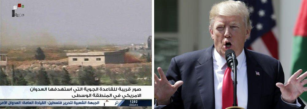 """Nove civis, incluindo quatro crianças, foram mortos pelo ataque de mísseis dos Estados Unidos contra uma base área síria perto da cidade de Homs nesta sexta-feira, afirmou a agência de notícias estatal da Síria; ao justificar seu ataque, o presidente dos Estados Unidos, Donald Trump, disse que agia como resposta a um ataque químico que matara """"lindos bebês""""; autoria do ataque químico, no entanto, não foi provada"""