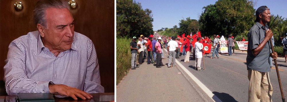 Um grupo de pessoas do Movimento dos Trabalhadores Rurais Sem Terra (MST) iniciou um protesto, em Uberaba (MG), pedindo a saída de Michel Temer e a retomada da reforma agrária; os manifestantes também são contrários à reforma da Previdência; segundo o MST, esta segunda éo dia internacional da luta camponesa e são lembrados os 21 anos do massacre em Eldorado dos Carajás (PA)