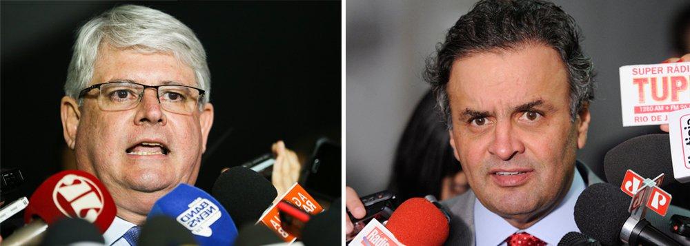 """No recurso em que levou ao plenário do Supremo Tribunal Federal o pedido de prisão preventiva do senador afastado Aécio Neves (PSDB), disse que Aécio quer pôr um 'freio de arrumação na Polícia Federal'; ao citar conversa de Aécio com Joesley Batista, Janot diz que """"a estratégia para justificar a aprovação do projeto de abuso de autoridade é usar os supostos erros da Operação Carne Fraca, escondendo o real objetivo de que, de fato, seria para impedir ou embaraçar a Operação Lava Jato""""; procurador observa que a estratégia do tucano 'coincide' com aquela discutida entre o senador Romero Jucá (PMDB/RR) e o delator Sérgio Machado, na famosa conversa em que defenderam estancar a sangria"""