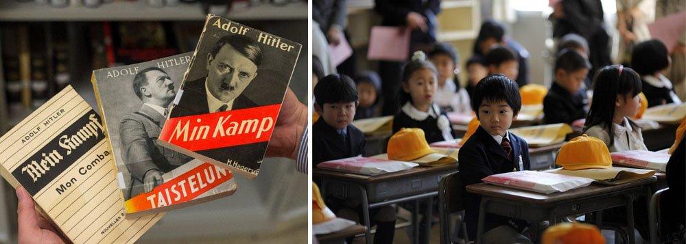 """Governo do Japão acha adequada a citação de excertos do livro de Adolf Hitler """"Mein Kampf"""" nos manuais escolares, declarou em entrevista coletiva o vice-secretário geral do governo japonês, Koichi Hagiuda; """"Existem exemplos de utilização de materiais educativos com citações parciais de """"Mein Kampf """" para refletir sobre o ambiente histórico da época em que este livro foi escrito. São usadas não com sentido positivo, mas com sentido negativo """", diz Hagiuda"""