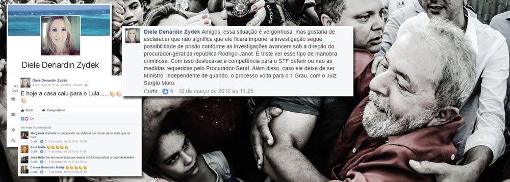 """A juíza Diele Zydek, que vetou manifestações em Curitiba no dia 10, quando mais de 30 mil pessoas deverão emprestar seu apoio ao ex-presidente Luiz Inácio Lula da Silva, é também militante, nas redes sociais, contra o PT; no dia 4 de março de 2016, data da condução coercitiva do ex-presidente Lula, ela afirmou que """"a casa caiu para Lula""""; dias depois, ela também se manifestou contra a nomeação de Lula para a Casa Civil, um ato legal da presidente deposta Dilma Rousseff, que foi derrubado por uma liminar do ministro Gilmar Mendes;""""O direito de manifestação não se confunde com a possibilidade de ocupação de bens públicos ou particulares"""", escreveu a magistrada em sua decisão, assinada na última sexta-feira"""