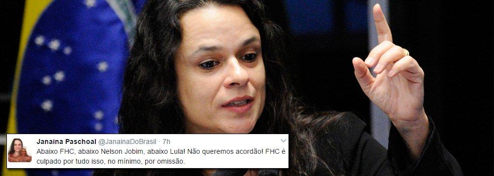"""Depois do humorista Marcelo Madureira, agora é a vez de Janaína Paschoal mostrar indignação contra os tucanos; a jurista, contratada pelo PSDB por R$ 45 mil para formular um pedido de impeachment com o argumento das chamadas """"pedaladas fiscais"""", diz que FHC é omisso diante da situação do país; """"FHC é culpado por tudo isso, no mínimo, por omissão"""", criticou"""