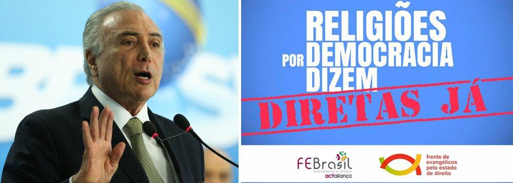 """Em manifesto, o FEBrasil e a Frente de Evangélicos pelo Estado de Direito pedem Diretas Já e elencam mudanças na política brasileira urgentemente; """"Eleições Direitas Já em 2017, e que sejam Eleições Gerais para evitar arranjos que excluam a maioria do povo dos rumos da Nação e para reinstituir as bases legítimas da nossa Democracia.Há tempos criou-se no Brasil uma crise de institucionalidade. O impeachment da Presidenta Dilma Roussef intensificou esse quadro. É urgente recuperar a função e a relevância das instituições"""", diz o texto"""