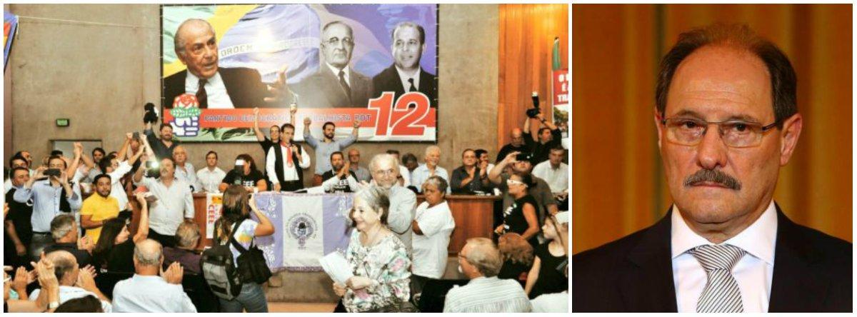 """O PDT gaúcho confirmou a saída da base aliada do governo José Ivo Sartori (PMDB);em reunião na sede do partido, em Porto Alegre, somente sete dos presentes defenderam a permanência. Haviacerca de 300 votantes no diretório estadual; """"Não basta sair do governo, temos que votar contra, falar contra esse governo. Todos precisam deixar os cargos no Executivo e passar a militar pelo PDT"""", disse"""