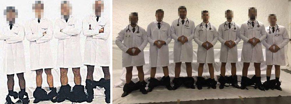 Jovens aparecem em uma foto com a hashtag #PintosNervosos vestindo jaleco, com as calças abaixadas até os tornozelos e fazendo um gesto com as mãos, que remete à genitália feminina; informação é de que eles seguiriam especialização na área de ginecologia