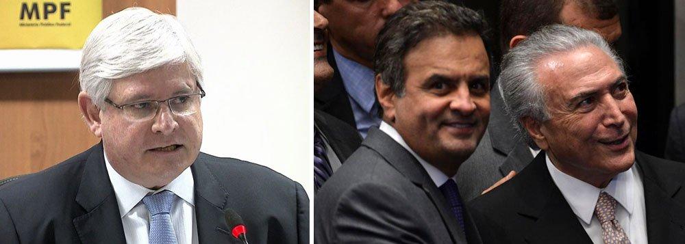 """Em documento enviado ao Supremo Tribunal Federal, o procurador-geral da República, Rodrigo Janot, afirma claramente que Michel Temer e o senador afastado Aécio Neves (PSDB-MG) agiram """"em articulação"""" para impedir o avanço da Lava Jato; """"Verifica-se que Aécio Neves, em articulação, dentre outros, com o presidente Michel Temer, tem buscado impedir que as investigações da Lava Jato avancem, seja por meio de medidas legislativas, seja por meio de controle de indicação de delegados de polícia que conduzirão os inquéritos"""", afirma Janot; no pedido para investigar Temer e Aécio, a procuradoria afirma que o senador teria """"organizado uma forma de impedir que as investigações [da Lava Jato] avançassem por meio da indicação de delegados que conduziriam os inquéritos, direcionando as distribuições"""""""