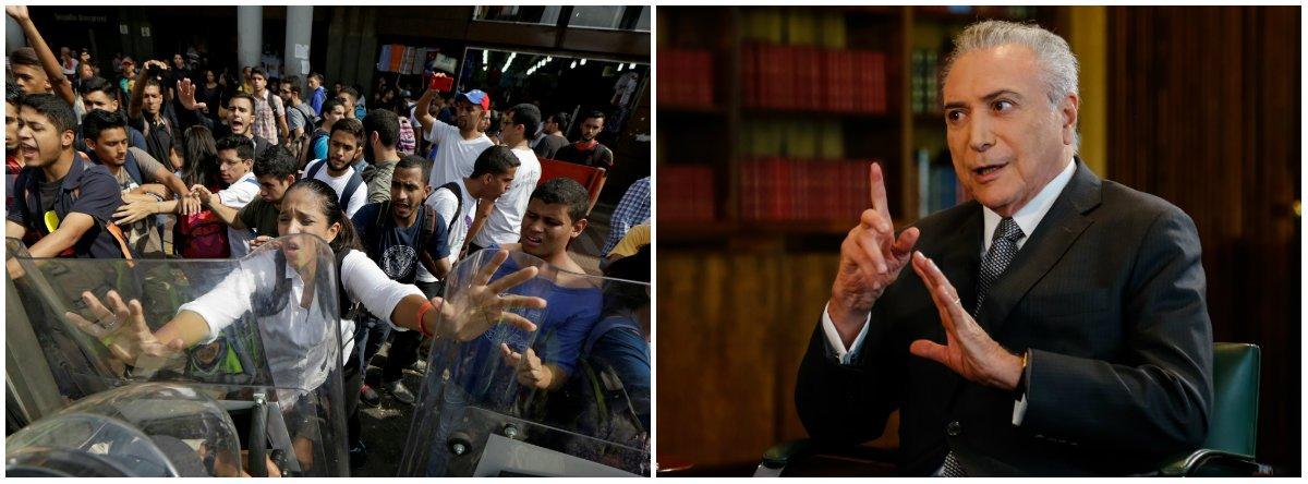"""""""Temer disse que a única solução para a grave crise da Venezuela são eleições diretas já. É uma das poucas opiniões certeiras que deu desde que assumiu o poder. Aliás, se refletisse um pouco mais, diria o mesmo em relação ao Brasil: a solução para a crise é Diretas Já"""", alerta Alex Solnik, que lembra que """"tanto lá como cá o alvo dos protestos é o presidente da República""""; """"Aqui ainda não temos as 20 mortes da Venezuela, mas a revolta com as reformas trabalhista e da Previdência está apenas começando a ir para as ruas. É melhor Temer sair, mas sair por cima, como o grande conciliador. E ele de certo modo alivia um pouco a pecha de golpista e traidor"""", avalia o jornalista"""