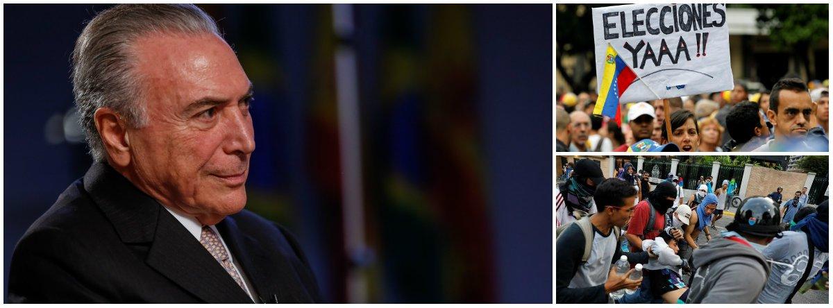"""Rejeitado por 78% dos brasileiros, que defendem sua cassação imediata, Michel Temer disse que o problema da Venezuela só será resolvido com novas eleições presidenciais; ele disse esperar que, """"muito proximamente, haja uma solução pacificadora na Venezuela por meio de eleições livres e com aplicação plena dos princípios democráticos""""; curiosamente, é isso o que pensam também 90% dos brasileiros, que, segundo a mesma pesquisa Vox Populi, também querem eleições diretas no Brasil; neste sábado 22, até o senador Ronaldo Caiado (DEM-GO), que apoiou o golpe de 2016, defendeu eleições gerais; Temer foi citado por executivos da Odebrecht como responsável por uma propina de US$ 40 milhões para o PMDB"""
