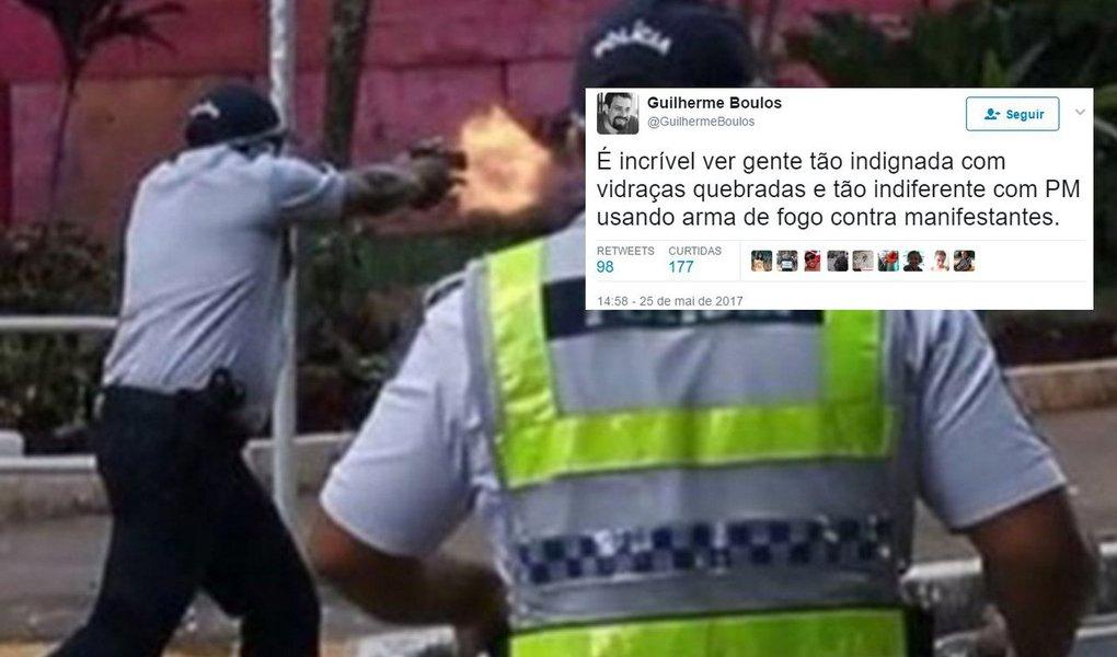 """Coordenador do Movimento dos Trabalhadores Sem Teto (MTST) e líder da frente Povo Sem medo, Guilherme Boulos, criticou nesta quinta-feira, a hipocrisia de parte da população brasileira, estimulada pela mídia, de condenar a maior manifestação popular de Brasília por conta de vidraças quebradas em ministérios; """"É incrível ver gente tão indignada com vidraças quebradas e tão indiferente com PM usando arma de fogo contra manifestantes"""", disse Boulos em sua conta no Twitter"""