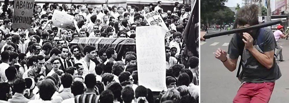 """""""Com o crânio afundado por golpes de cassete durante a greve geral de 28 de abril, o estudante Mateus Ferreira luta pela recuperação numa UTI de Goiânia, num episódio com vários pontos semelhantes à morte de Edson Luís, o secundarista alvejado por um tiro de fuzil em março 1968. Enquanto a mídia já começa a trabalhar para apagar a memória das imagens que demonstram o papel de um capitão da PM na agressão a Mateus, o caso Edson Luís teve um final típico da ditadura. Nenhum responsável foi punido e o jornalista Washington Novaes, uma das principais testemunhas da morte, sofreu dois processos na Justiça Militar e só foi absolvido onze anos depois, pela Lei de Anistia"""", diz o colunista Paulo Moreira Leite"""