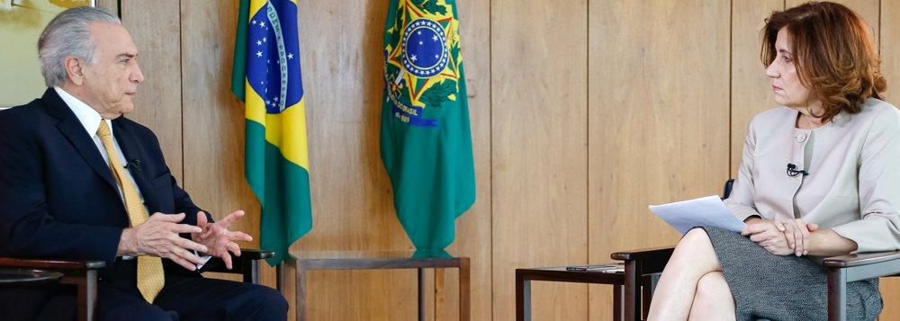 Brasília - DF, 13/10/2016. Presidente Michel Temer durante entrevista para Miriam Leitão da Globo News. Foto: Marcos Corrêa/PR
