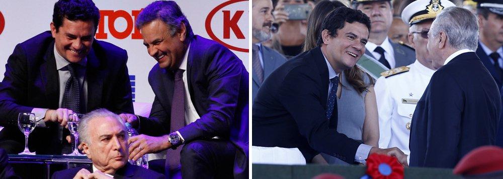 """Jornalista Paulo Nogueira, do Diário do Centro do Mundo (DCM), disse que os sorrisos do juiz Sérgio Moro a pessoas como Aécio Neves e Michel Temer, articulador e produto do golpe, respectivamente, são """"simplesmente indecorosos""""; """"Um juiz não pode rir daquela maneira cúmplice, deslumbrada, quase histérica para pessoas de alto envolvimento numa operação anticorrupção que ele comanda"""", diz Nogueira; """"Os sorrisos de Moro a certas pessoas são um acinte à sociedade, a todos os que acreditam na isenção da Justiça e dos juízes"""""""