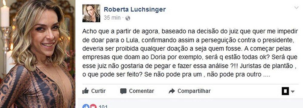 """Juiz paulista determinou que Roberta Luchsinger, herdeira de um ex-acionista do banco Credit Suisse, pague um débito de R$ 62 mil com uma loja antesde doar dinheiro a alguém; Roberta havia anunciado a doação de R$ 500 mil ao ex-presidente Lula, após ele ter os bens bloqueados por Sergio Moro; ela define a decisão contra ela como """"perseguição""""; """"Depois de quererem bloquear a doação ao Lula, eu decidi dobrar"""", anunciou ainda, pelo Twitter"""