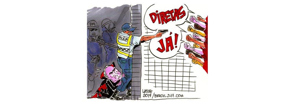 Cartunista Latuff retrata a tragédia brasileira: um governo ilegítimo que usa a polícia e as Forças Armadas para se proteger da população, golpeada por políticos corruptos