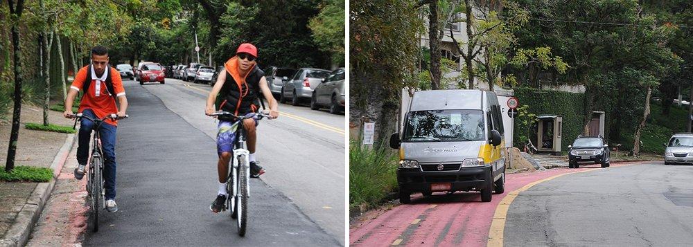 Faixa para bicicletas foi removida em 22 de março, sob alegação de manutenção. Ciclistas ficaram sem segurança no local