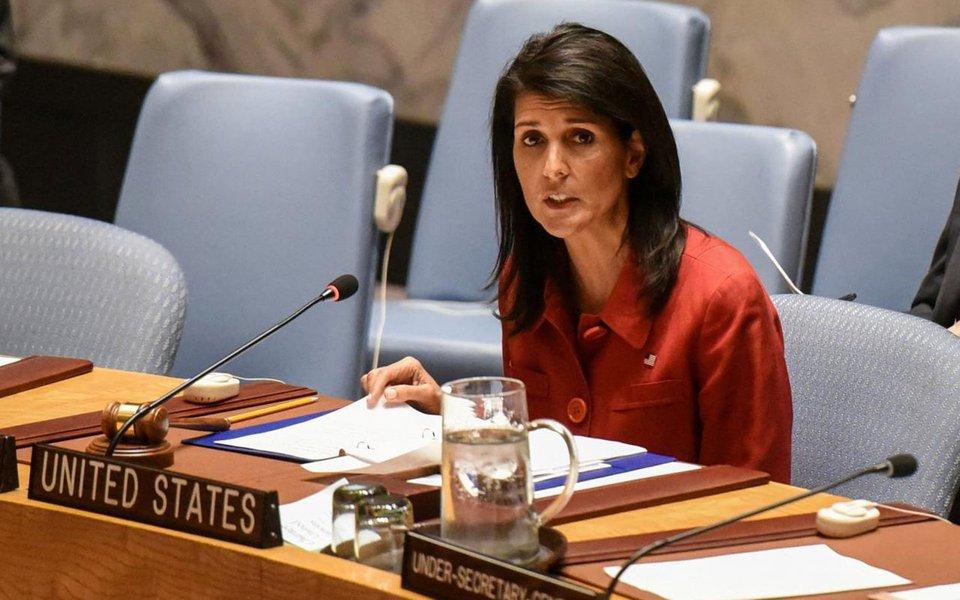 """A embaixadora dos Estados Unidos na ONU, Nikki Haley, disse nesta segunda-feira que agora é o momento para o Conselho de Segurança impor """"as medidas mais fortes possíveis"""" contra a Coreia do Norte, devido ao sexto e maior teste nuclear do regime norte-coreano, dizendo """"basta""""; Haley disse que a abordagem de sanções graduais do conselho de 15 membros contra a Coreia do Norte desde 2006 não funcionou, e disse que o líder norte-coreano, Kim Jong Un, está """"pedindo por guerra"""""""