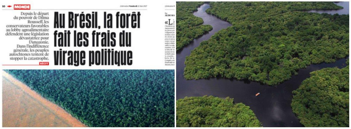 """A edição desta sexta-feira 12 do jornal francêsLibérationtraz uma matéria sobre o desmatamento da Floresta Amazônica, em prol das plantações de soja e da criação de gado. """"No Brasil, a floresta paga o preço das mudanças políticas"""", diz a manchete"""