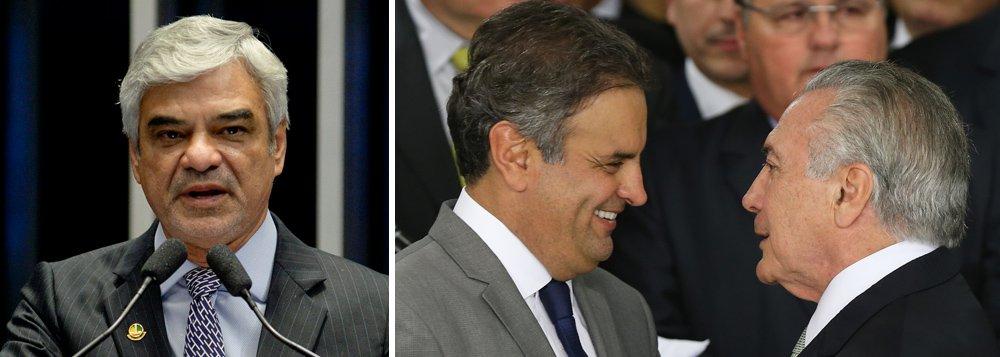 """Revoltado com a portaria do governo Michel Temer que """"revoga a Lei Áurea e reinstitui o trabalho escravo no Brasil"""", o líder da oposição no Senado, Humberto Costa (PT-PE), afirmou que a medida foi tomada em troca de votos para livrar """"a cara do bandido-geral da República"""" na Câmara e tem de ser denunciada na Corte Interamericana de Direitos Humanos; """"Ele prometeu R$ 200 milhões em emendas para o PSDB livrar a cara dele no Senado e recompensar o PMDB lá na Câmara com apoio ao empastelamento da segunda denúncia da PGR. Desse grande acordo, faz parte a restauração da escravidão"""", disse"""