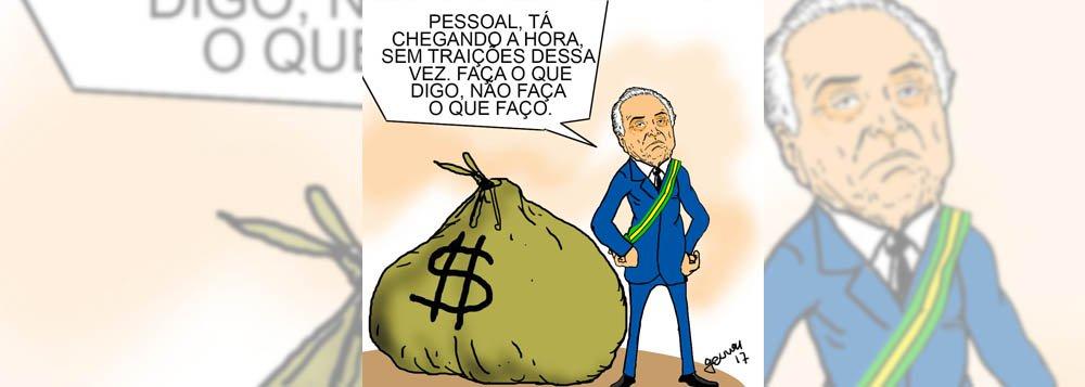 Às vésperas da votação da segunda denúncia contra Michel Temer na Câmara dos Deputados, o cartunista Geuvar retrata a irônica condição do peemedebista; após trair a presidenta Dilma Rousseff e aplicar um golpe, ele espera não ser traído pelos parlamentares