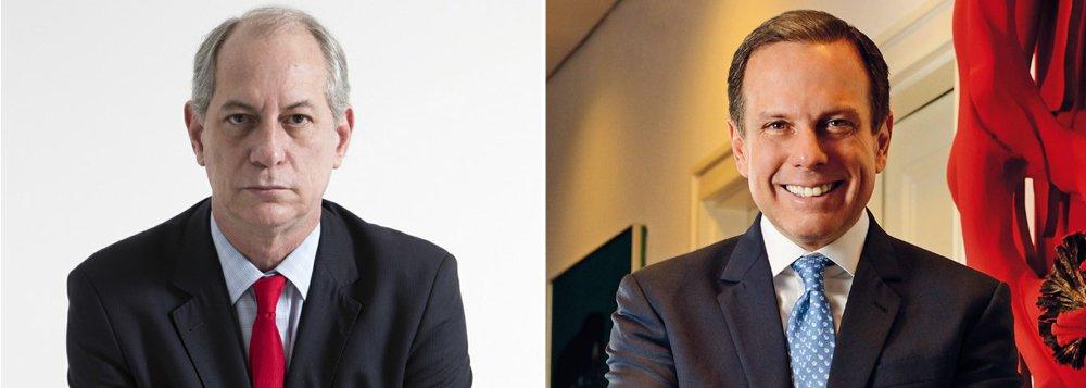 """""""O marqueteiro paulistano pisou feio na bola. É tudo o que Ciro poderia querer, porque lhe abre uma polêmica que só traz vantagens e com um personagem cujos truques para aparecer só convencem mesmo os parvos"""", diz Fernando Brito, sobre o embate entre os presidenciáveis Ciro Gomes, do PDT, e João Doria, do PSDB"""